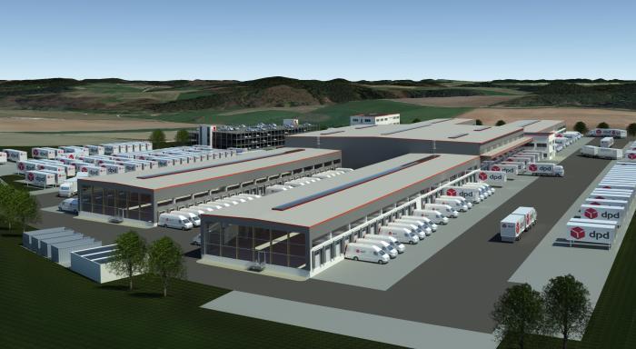 Neues Paketsortierzentrum von DPD in Aichach bei Augsburg